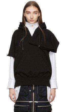 Sacai - Black Short Sleeve Hoodie