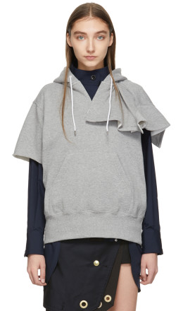 Sacai - Grey Short Sleeve Hoodie