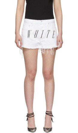 Off-White - White Denim Stonewash Shorts