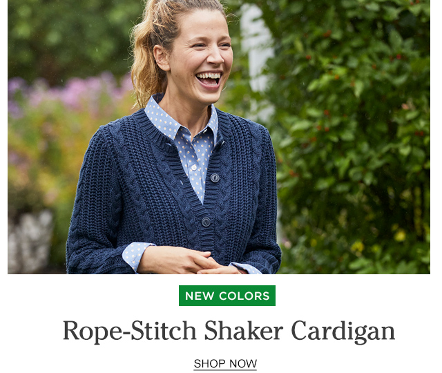 NEW Colors. Rope-Stitch Shaker Cardigan.
