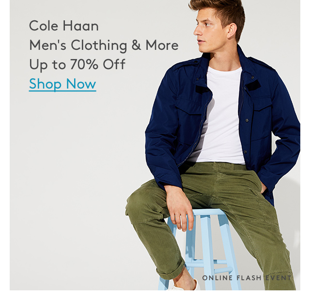 Cole Haan Men's Clothing & More Up to 70% Off | Shop Now | Online Flash Event