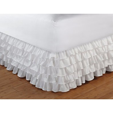 Accessories Collection Multi-Ruffle White Color Twin Bed Skirt by Greenland Home Fas