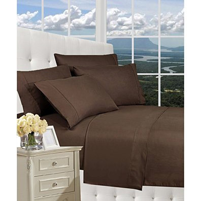 Elegant Comfort 1800 Series Wrinkle Resistant Egyptian Quality Hypoallergenic Ultra Soft Luxury 4-Piece Bed Sheet Set, King, Chocolate Brown