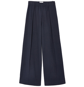HIGH-WAISTED PLEATED COTTON TROUSERS