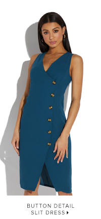 BUTTON DETAIL SLIT DRESS