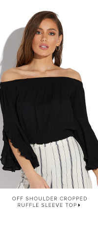 OFF SHOULDER CROPPED RUFFLE SLEEVE TOP