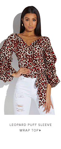 LEOPARD PUFF SLEEVE WRAP TOP