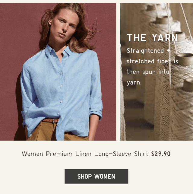 WOMEN PREMIUM LINEN LONG-SLEEVE SHIRT $29.90 - SHOP WOMEN