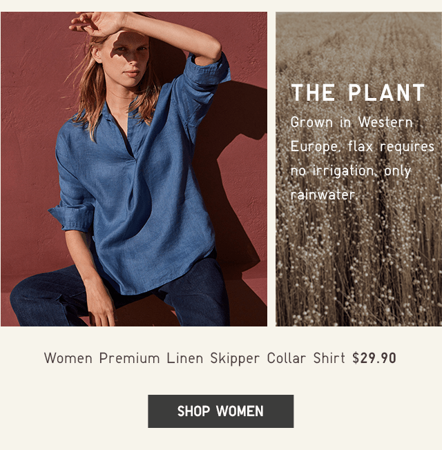 WOMEN PREMIUM LINEN SKIPPER COLLAR SHIRT $29.90 - SHOP WOMEN