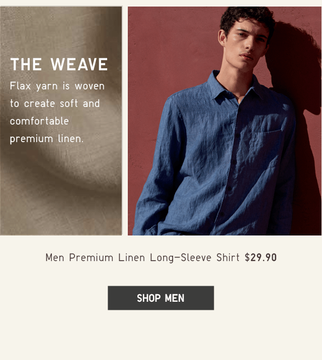 MEN PREMIUM LINEN LONG-SLEEVE SHIRT $29.90 - SHOP MEN