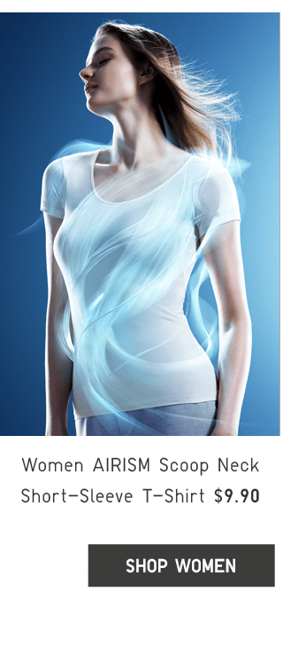 WOMEN AIRISM SCOOP NECK SHORT-SLEEVE T-SHIRT $9.90 - SHOP WOMEN