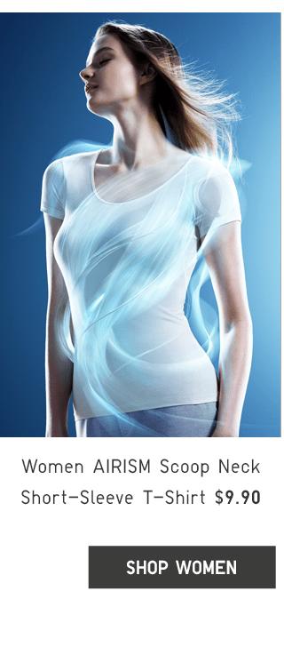 WOMEN AIRISM SCOOP NECK SHORT-SLEEVE T-SHIRT $9.90 - SHOP WOMEN
