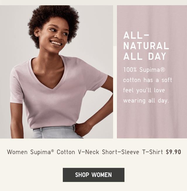WOMEN SUPIMA COTTON V-NECK SHORT-SLEEVE T-SHIRT $9.90 - SHOP WOMEN