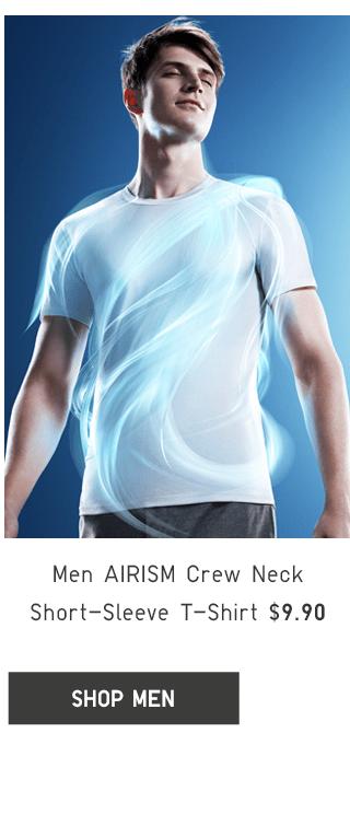 MEN AIRISM CREW NECK SHORT-SLEEVE T-SHIRT $9.90 - SHOP MEN