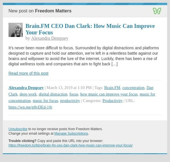 Freedom: [New post] Brain FM CEO Dan Clark: How Music Can