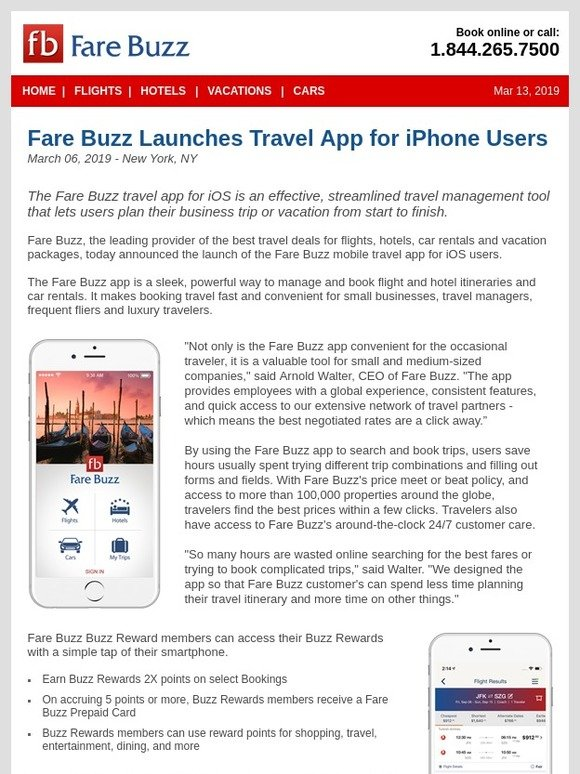 Fare Buzz: Fare Buzz Launches Travel App for iPhone Users