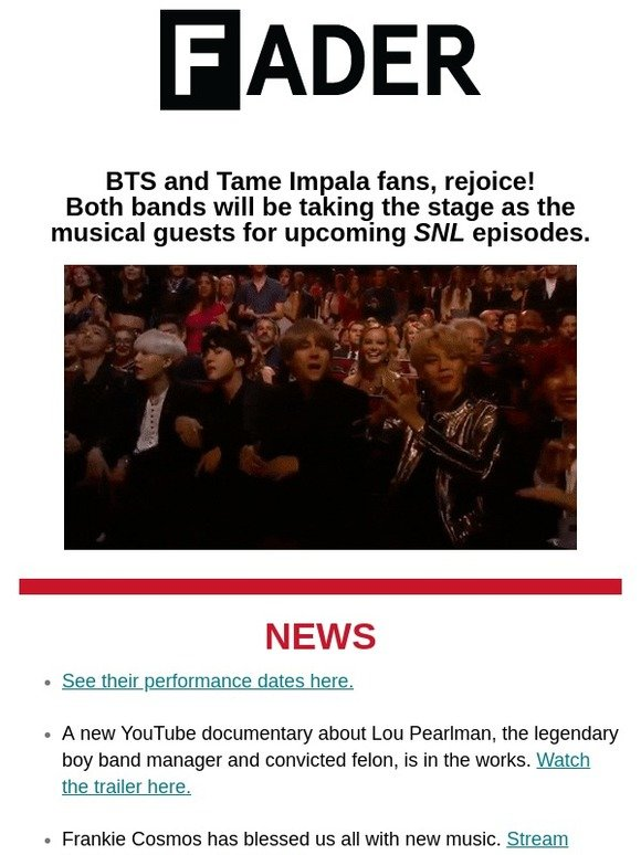 Tim Coppens: BTS and Tame Impala are heading to SNL | Milled