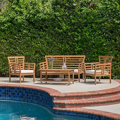 Louis Outdoor 4-piece Solid Wood Chat Set with Cushions