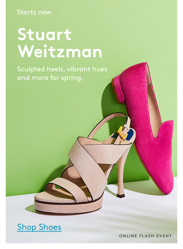 Starts now | Stuart Weitzman | Sculpted heels, vibrant hues and more for spring. | Shop Shoes | Online Flash Event
