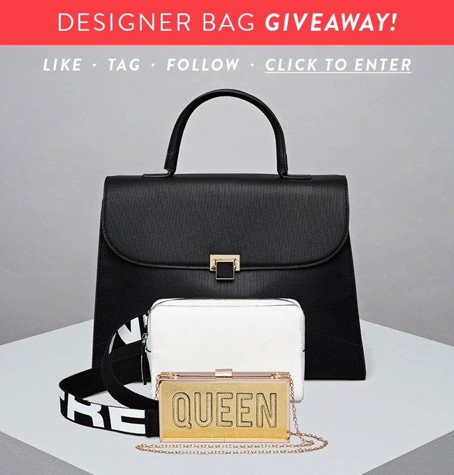 Designer Bag Giveaway! Like. Tag. Follow. Click to enter