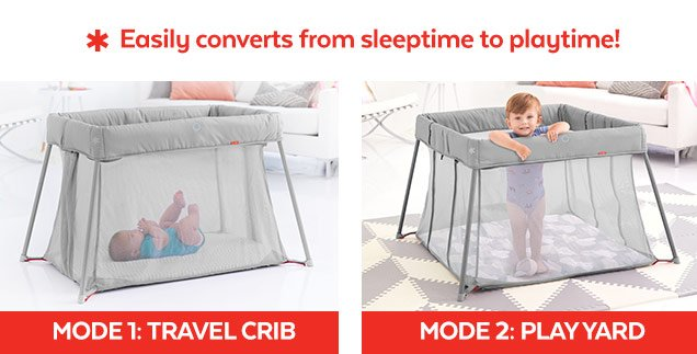 Easily converts from sleeptime to playtime! | Mode 1: Travel Crib | Mode 2: Play Yard