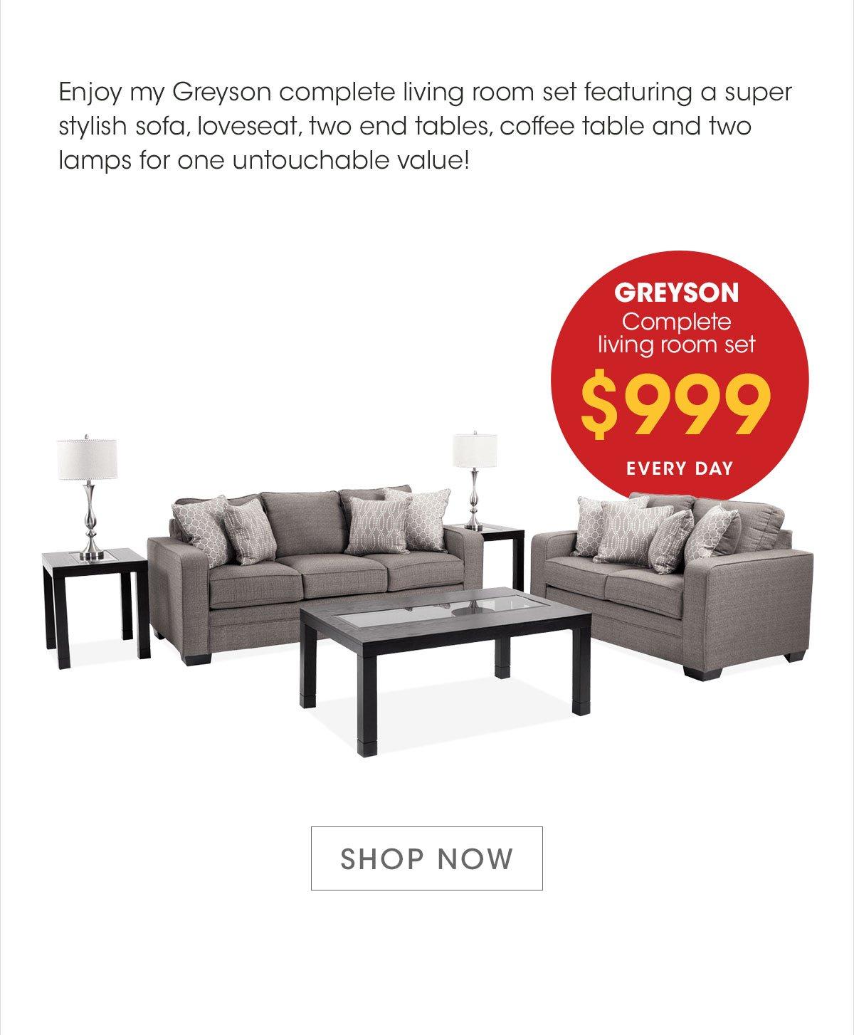 Phenomenal Bobs Discount Furniture My Greyson Complete Living Room Set Machost Co Dining Chair Design Ideas Machostcouk