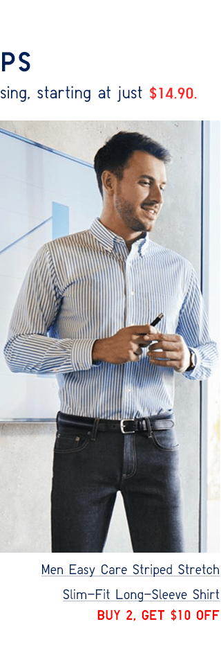 MEN EASY CARE STRIPED STRETCH SLIM-FIT LONG-SLEEVE SHOIRT - BUY 2, GET $10 0FF