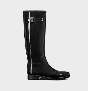 Women's Refined Slim Fit Tall Gloss Rain Boots: Black