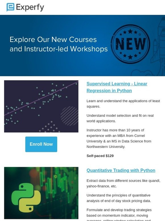 Experfy: New courses: Workshops, Quant Finance, Machine