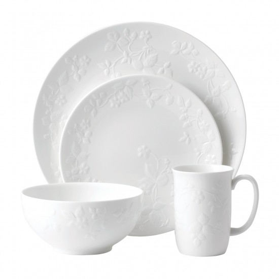 Wild Strawberry White 4-Piece Place Setting