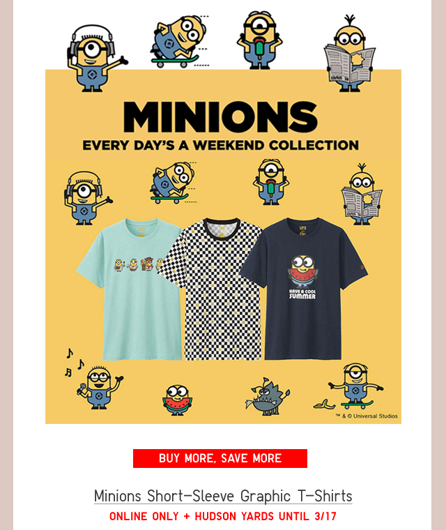 MINIONS SHORT-SLEEVE GRAPHIC T-SHIRTS - BUY MORE, SAVE MORE