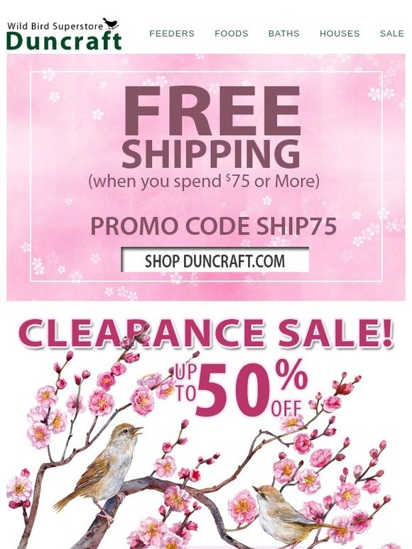 Duncraft Wild Bird Superstore: Open for Pre-Spring Clearance Deals +