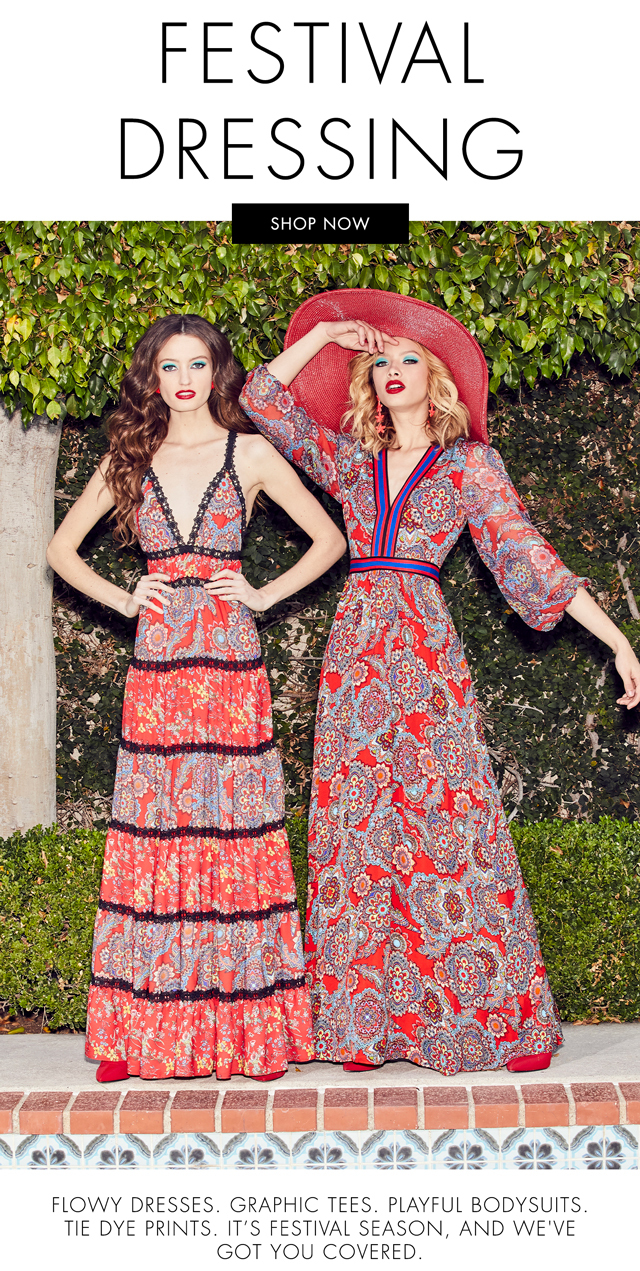 SHOP THE FESTIVAL DRESSING GUIDE. FLOWEY DRESSES, GRAPHIC TEES, PLAYFUL BODYSUITS.