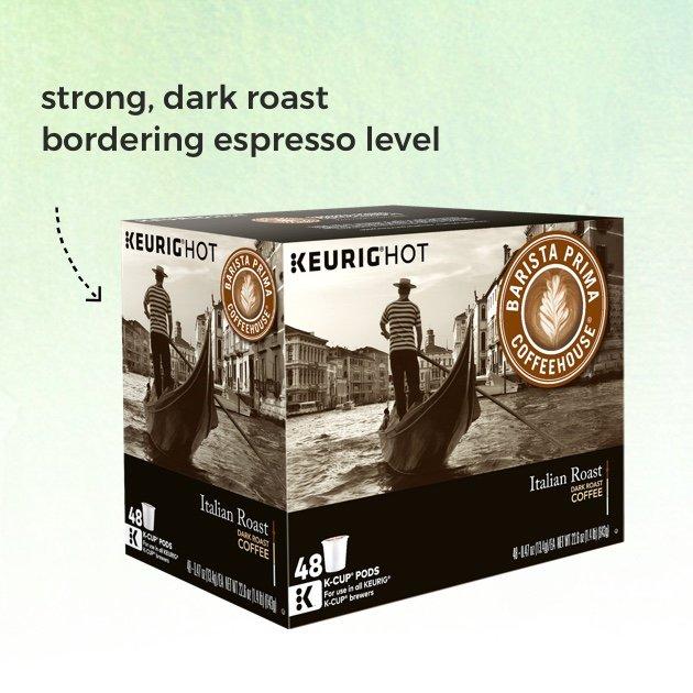 Keurig® K-Cup® 48-Count Barista Prima Coffeehouse® Italian Roast Coffee Value Pack. Strong, dark roast bordering espresso level.