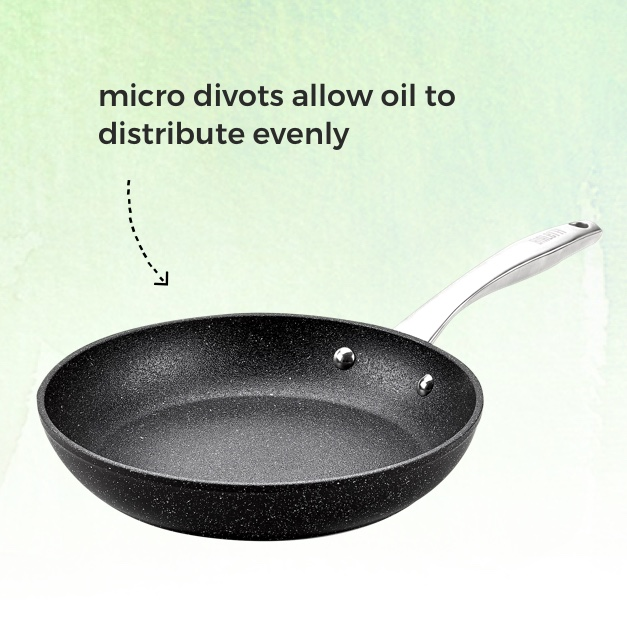 Bialetti® Titan Nonstick Fry Pan. Micro divots allow oil to distribute evenly.