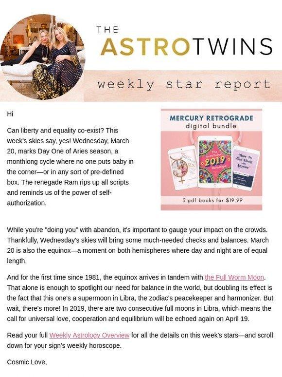 The AstroTwins: ⭐ Weekly Horoscope: Aries season begins