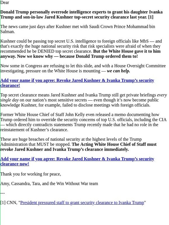 MoveOn: Add your name: Revoke Jared Kushner's Top-Secret