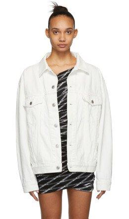 Balenciaga - White Denim Logo Jacket