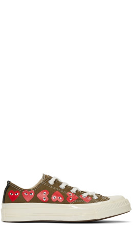 Comme des Garçons Play - Khaki Converse Edition Multiple Hearts Chuck 70 Low Sneakers