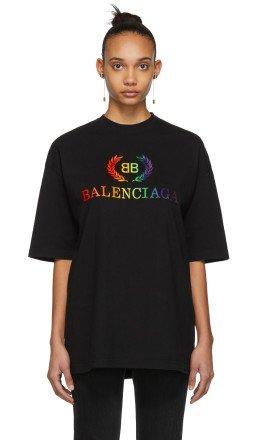 Balenciaga - Black Oversized Rainbow 'BB' T-Shirt