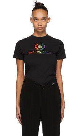 Balenciaga - Black Rainbow 'BB' Fitted T-Shirt
