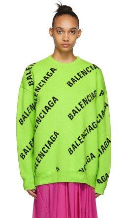 Balenciaga - Green & Black Wool Allover Logo Sweater