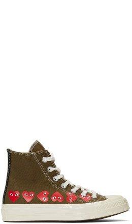 Comme des Garçons Play - Khaki Converse Edition Multiple Hearts Chuck 70 High Sneakers