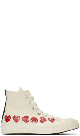Comme des Garçons Play - Off-White Converse Edition Multiple Hearts Chuck 70 High Sneakers