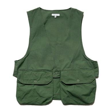 ab3b0cccb663a Engineered Garments Cotton Ripstop Fowl Vest Olive
