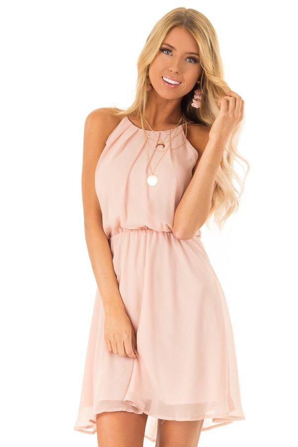 b016abe23de Pale Rose Petal Chiffon Trapeze Strap Mini Dress ...