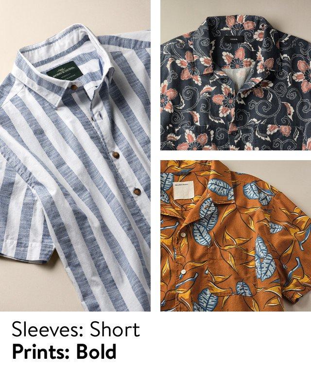 Sleeves, short; prints, bold: men's print shirts.