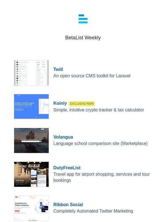 Betalist: Twill, Koinly, Volangua, DutyFreeList, Ribbon Social, and