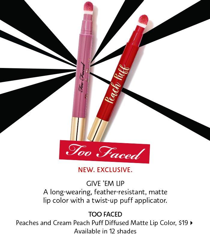 Too Faced Peaches & Cream Peach Puff Diffused Matte Lip Color