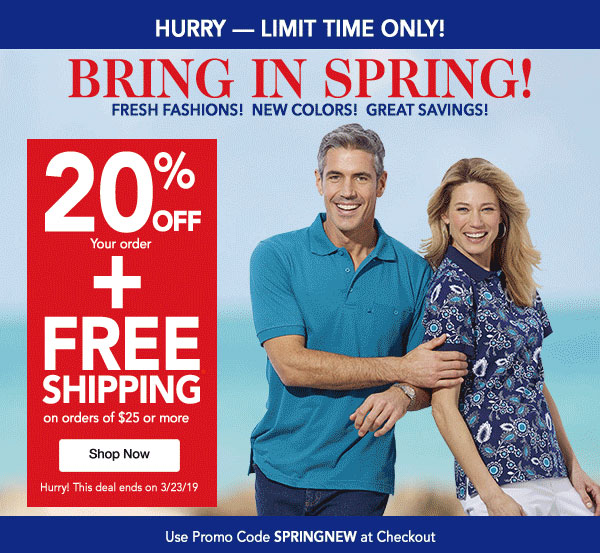Get 20% OFF your order plus FREE SHIPPING on orders of $25 or more! Use promo code SPRINGNEW at checkout.